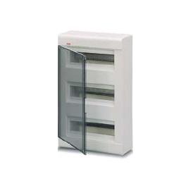 ABB Estetica Шкаф встраиваемый белый 18мод. с дымчатой гориз. дв. IP 40